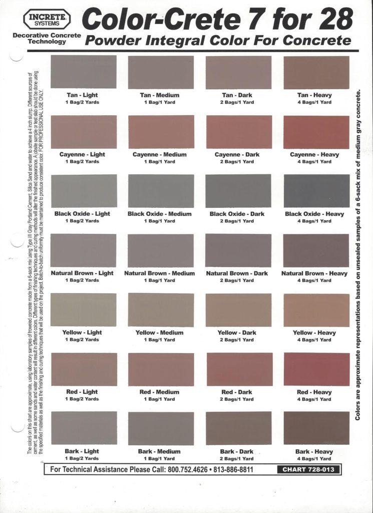 color chart for colored concrete